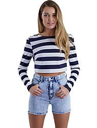 Damen Gestreift Sexy / Street Schick Ausgehen / Strand T-shirt,Rundhalsausschnitt Frühling / Herbst Langarm Blau Baumwolle Dünn