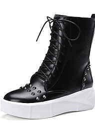 Women's Boots Spring / Fall / Winter Fashion Boots / Motorcycle Boots / Creepers / Round Toe PU Flat Heel