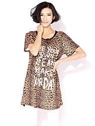 HANBELLE® Damen Rundhalsausschnitt Kurze Ärmel T-Shirt Leopard-417#
