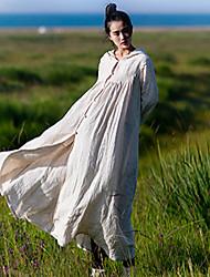 Damen Solide Einfach Lässig/Alltäglich Mantel / Capes,Mit Kapuze Herbst Langarm Beige Leinen Undurchsichtig