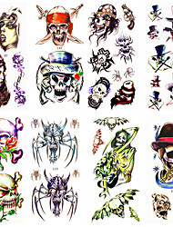 16 Designs Waterproof Temporary Tattoos Sticker Animal for Hallowmas Halloween Body Art 24cm*9.5cm (Assorted Pattern)