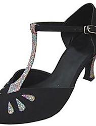 Customizable Women's Dance Shoes Flocking / Sparkling Glitter Latin / Salsa Sandals / Heels Customized Heel