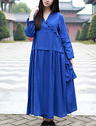 Cynthia Women's Casual/Daily Chinoiserie Tunic DressSolid V Neck Maxi Long Sleeve Blue Cotton