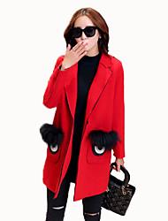 Women's Plus Size Cute Pea Coats,Patchwork Notch Lapel Long Sleeve Winter Red / Gray Rex Rabbit Fur Thick