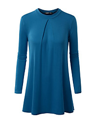 Women's Going out / Casual/Daily Simple / Street chic Loose DressSolid Round Neck Above Knee Long SleeveBlue