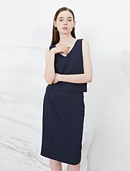 c + beeindrucken Frauen solide blau skirtssophisticated midi / Knielänge