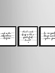 E-HOME® Framed Canvas Art, English Letter Framed  Canvas Print Set of 3