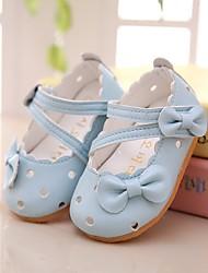 Girl's Flats Spring / Summer Boat PU Outdoor / Dress Flat Heel Bowknot Blue / Pink / White Walking
