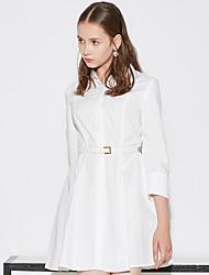 Feminino Camisa Vestido,Casual Simples Sólido Colarinho de Camisa Acima do Joelho Manga ¾ Azul / Branco Algodão Primavera / VerãoCintura