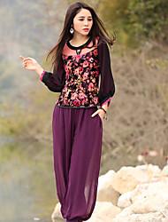 Tee-shirt Aux femmes,Fleur Sortie Vintage Printemps / Automne Manches ¾ Col Arrondi Rouge Polyester / Spandex Moyen