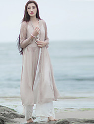 Ramie Cotton  Women's Going out / Beach Vintage / Simple Loose / Chiffon DressSolid Round Neck
