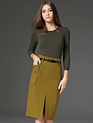 Damen Solide Einfach Arbeit Set Rock,Rundhalsausschnitt Herbst Langarm Grün Wolle / Baumwolle / Polyester / Nylon Undurchsichtig