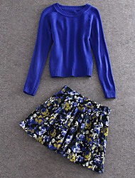 Damen Solide / Blumen Einfach Lässig/Alltäglich Set Rock,Rundhalsausschnitt Frühling Langarm Blau Wolle / Polyester Mittel