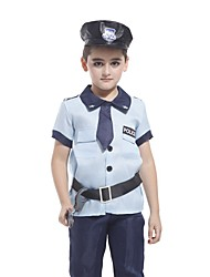 Cosplay Costumes Police Movie Cosplay Blue Solid Top / Pants / Hat Halloween / Christmas / New Year Kid Polyester