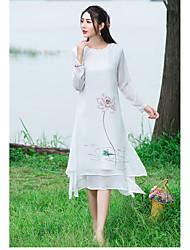 Mujer Gasa Vestido Casual/Diario Bonito,Floral Escote Redondo Midi Manga Larga Blanco Otro Verano Tiro Medio Rígido Medio