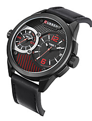 CURREN® watch men relogios masculinos de luxo marcas famosas military Dual Time Display leather Quartz watch