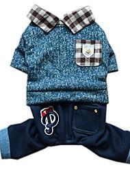 katten / honden kostuums / Jassen / Truien / Jumpsuits / Jeans Blauw / Roze Hondenkleding Winter / Lente/HerfstJeans / Geruit / Letter &