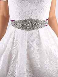 Satin Wedding / Party/ Evening Sash-Beading / Rhinestone Women's 98 ½in(250cm) Beading / Rhinestone