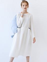 las mujeres idilio isla de salir / casual / diaria simple una línea de cuello redondo dresssolid midi algodón de manga larga otoño / ropa