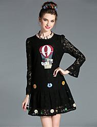 moda aufoli vintage sexy rendas de grandes dimensões mulheres talão manga alargamento bordar uma linha de vestido