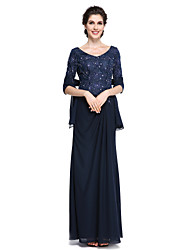 Lanting Bride® Sheath / Column Mother of the Bride Dress - Elegant Ankle-length Half Sleeve Chiffon / Lace with Lace
