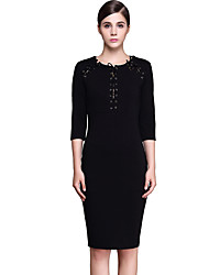 Women's Lace Up Brand Fashion Vintage / Simple Color Block Plus Size / Sheath Lacing Dress , Round Neck Knee-length