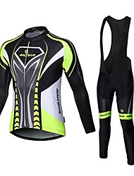 Malciklo Cycling Jersey with Bib Tights Men's Long Sleeves Bike Compression Clothing Tights Quick Dry Front Zipper Wearable High