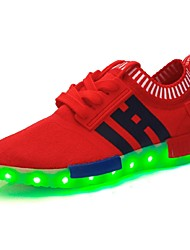Feminino-Tênis-Conforto Light Up Shoes-Rasteiro-Preto Azul Vermelho Azul Real-Tule-Casual Para Esporte