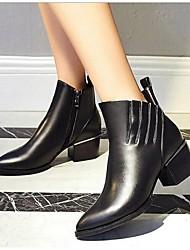Для женщин Ботинки Армейские ботинки Кожа Весна Осень Зима Армейские ботинки Оборки На толстом каблуке Блочная пятка Черный 2,5 - 4,5 см