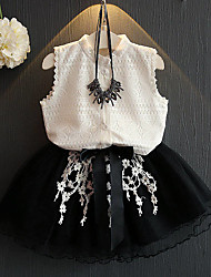 Girl's Casual/Daily Patchwork Clothing SetPolyester Summer White