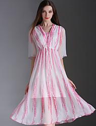 Eosciy Women's V Neck Short Sleeve Tea-length Dress-70902
