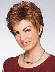 Brown Color Short Curly European Synthetic Wigs Capless For Afro Women