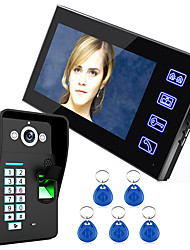 Ennio Touch Key 7 Lcd Fingerprint Recognition Video Door Phone Intercom System IR Camera HD 1000 TVline