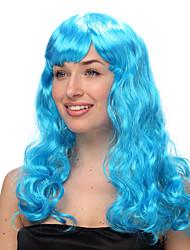 Sky Blue Long Wave Halloween Wigs Synthetic Wigs Costume Wigs