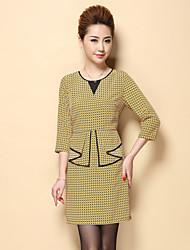 Boutique S Women's Plus Size / Work Vintage Sheath DressGeometric Crew Neck Above Knee  Sleeve Yellow Polyester
