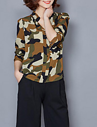 Damen Patchwork Retro / Einfach Lässig/Alltäglich T-shirt,V-Ausschnitt Sommer Langarm Rosa / Schwarz Polyester Dünn