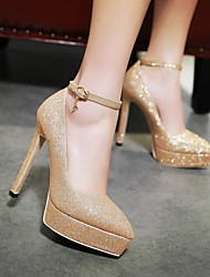Women's Heels Spring Fall PU Outdoor Dress Stiletto Heel Others Black Red Silver Rose Gold Walking