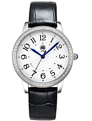 Victoria Silver Case White Dial Black Leather Strap Watch