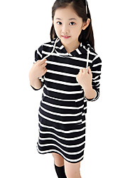 Girl's Casual/Daily Striped DressCotton Spring / Fall Black / Red