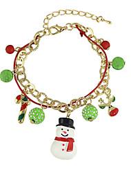 New Christmas Gift Colorful Balls Snowman Deer Charms Bracelets
