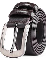 Men's Silver Belt Buckle Black Leather Waist Belt Straps For Casual Pants Jeans Belts