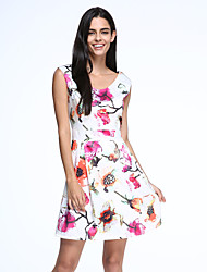 Women's Vintage / Party / Cocktail Floral A Line Dress , V Neck Above Knee Polyester