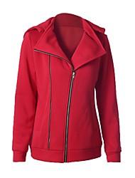 Damen Solide Einfach / Aktiv Lässig/Alltäglich / Sport / Urlaub Jacke,Mit Kapuze Herbst / Winter Langarm Rot Nylon Mittel