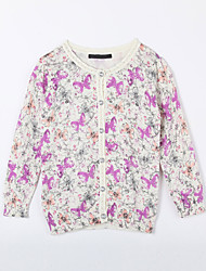 Girl's Casual/Daily Floral Sweater & CardiganCotton Fall White
