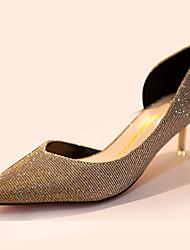 Damen-High Heels-Lässig-Polyester-Stöckelabsatz-Komfort-Schwarz / Blau / Gold