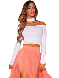 Women's Sleeved Off Shoulder Choker Crop Top