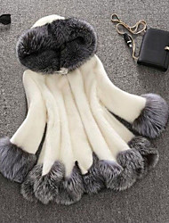 Women's Plus Size Sophisticated Fur Coat,Solid Hooded  Fall / Winter White / Black Faux Fur / Raccoon Fur Thick Tops