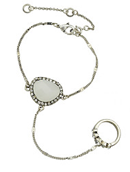 Silver Plated Chain Bracelet with Finger Rings