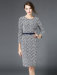 manquer française sortir / dailysexy / sophistiquée robe fourreau, jacquard col rond genou ¾ manches gris