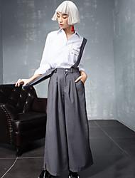 solide gris large pantssimple jambe des femmes room404